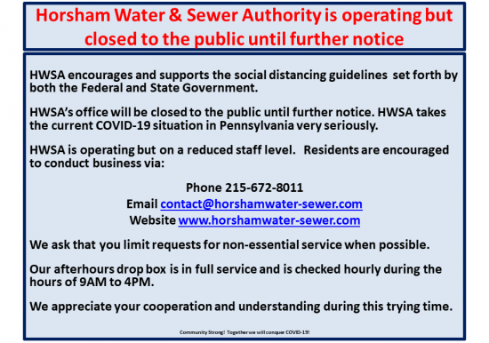 HWSA is operating on a reduced staff level, however closed to the public! Slideshow